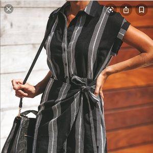 NWT Stripe Wrap Shirt Dress